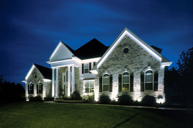 Outdoor lighting on Pittsburgh home