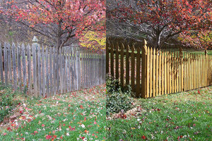Wood fence cleaning before and after