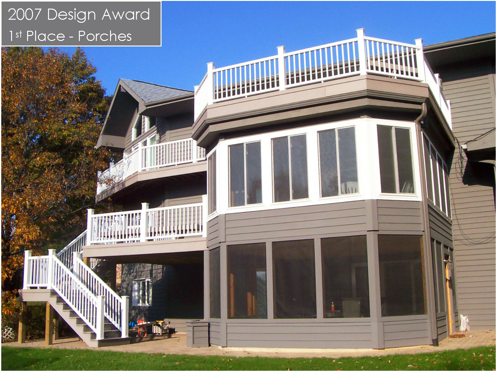 We Built A Multi Level Porch On This Home With A Large Deck Atop The Second  Level Effectively Creating 2 Rooms Each With A Flat Roof