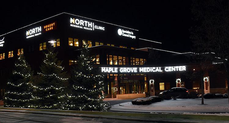 Maple Grove Hospital Christmas lighting