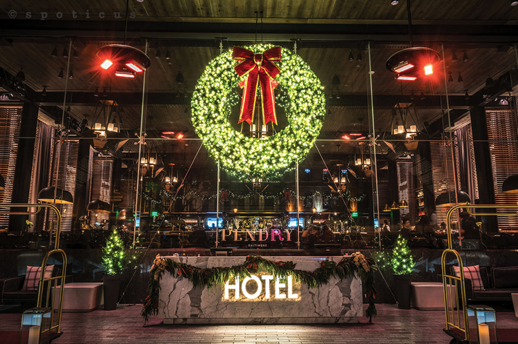 commercial holiday wreath with lights