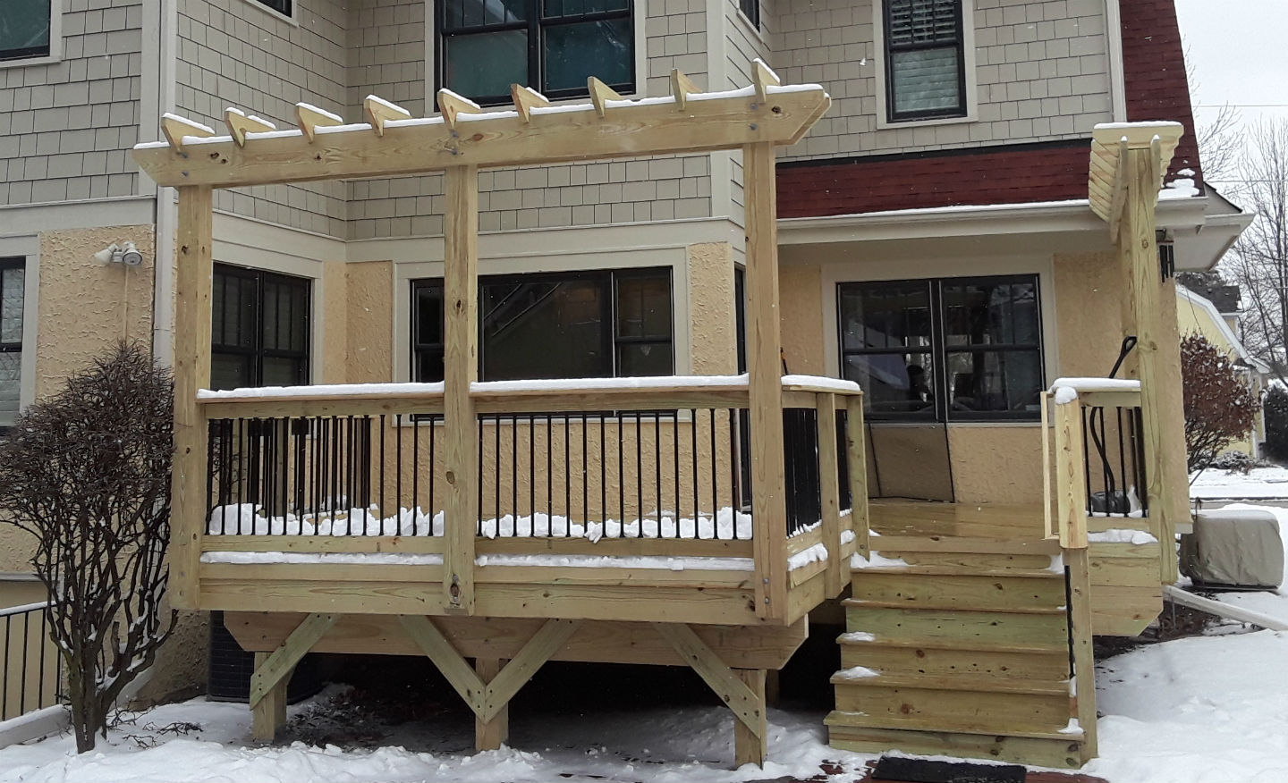 Pressure Treated Deck with Free Standing Pergola in Glen Ellyn, IL  Thumbnail