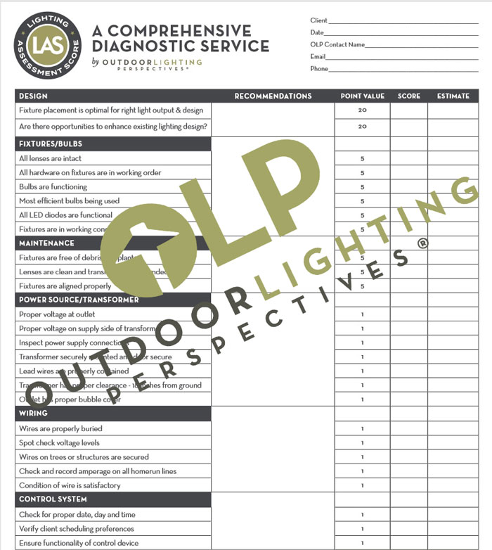 Free outdoor lighting system inspection