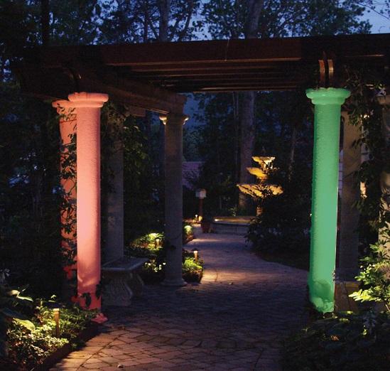 color-changing landscape lighting for Christmas