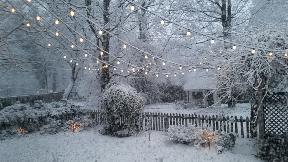 gorgeous snowy string lights on your patio