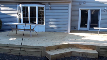 Wood Deck Without Rails, Carol Stream, IL Deck Builder. Thumbnail