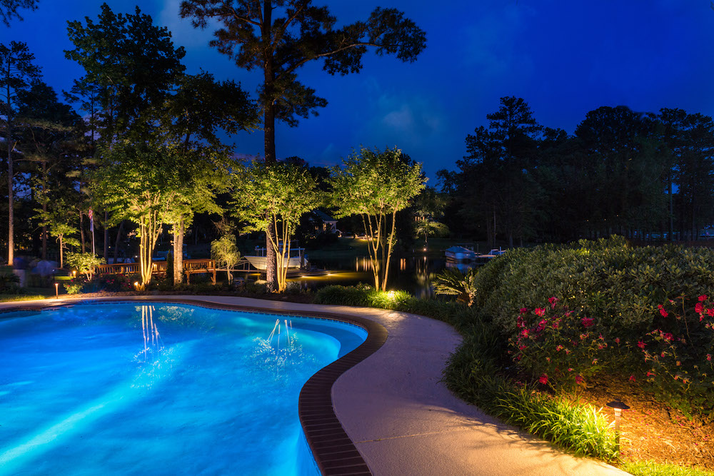 Charlotte landscape lighting landscape lighting works with architectural lighting to erase dark spots where intruders would hide this beautiful lighting combination presents a complete mozeypictures Image collections