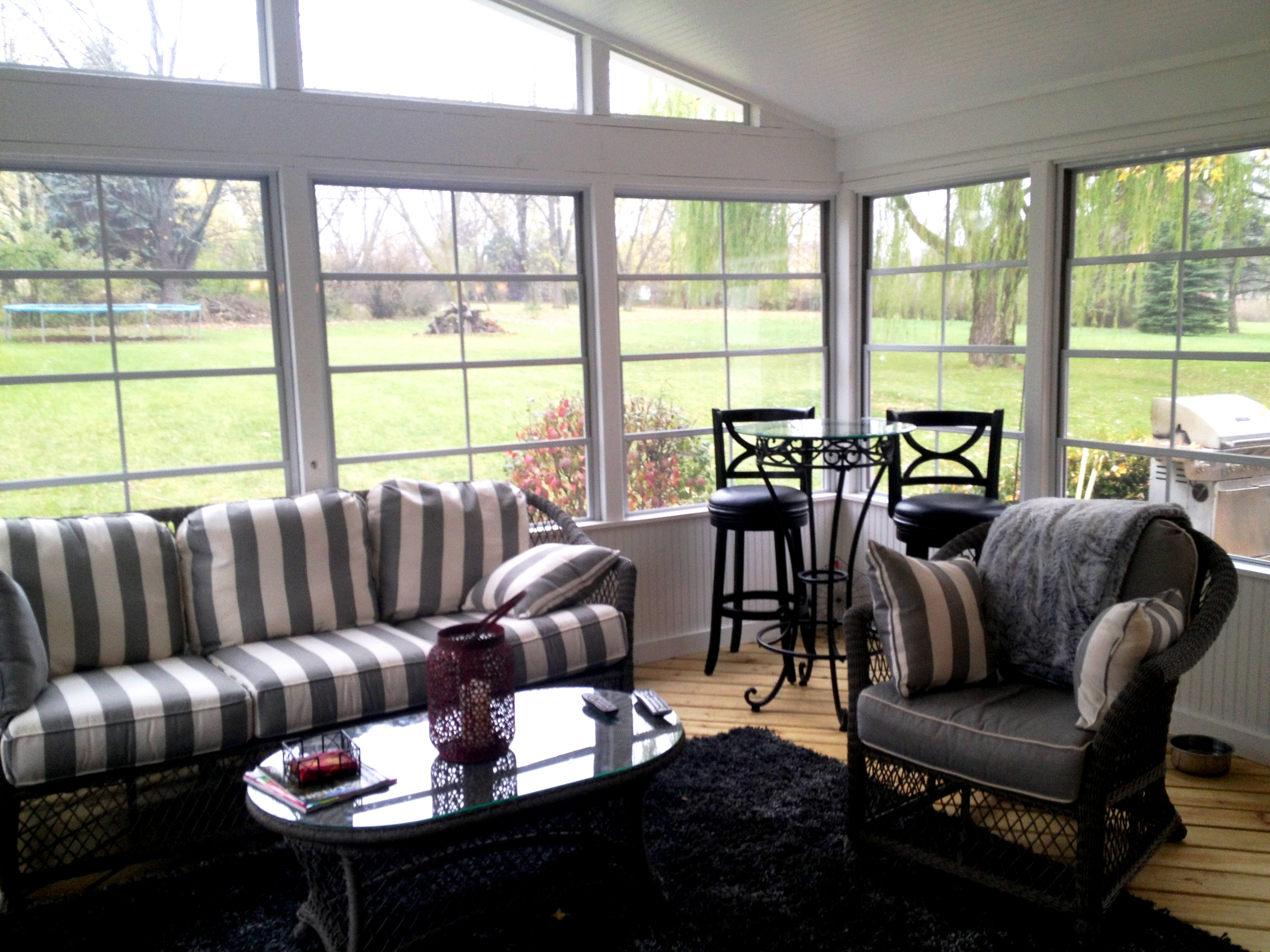 Screened porch with Eze-Breeze windows