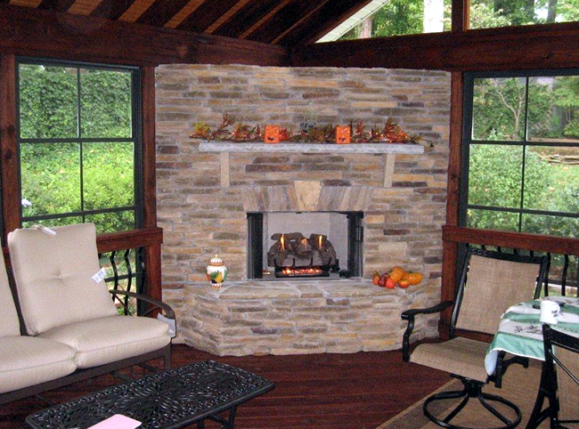 outdoor fireplace uses in fall