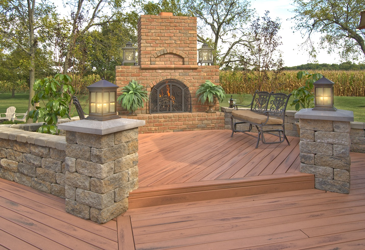 TimberTech-deck-with-vertical-hardscapes-and-outdoor-fireplace
