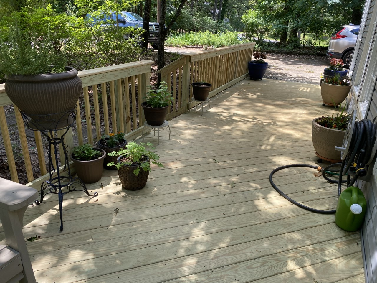 Wood deck with plant decors