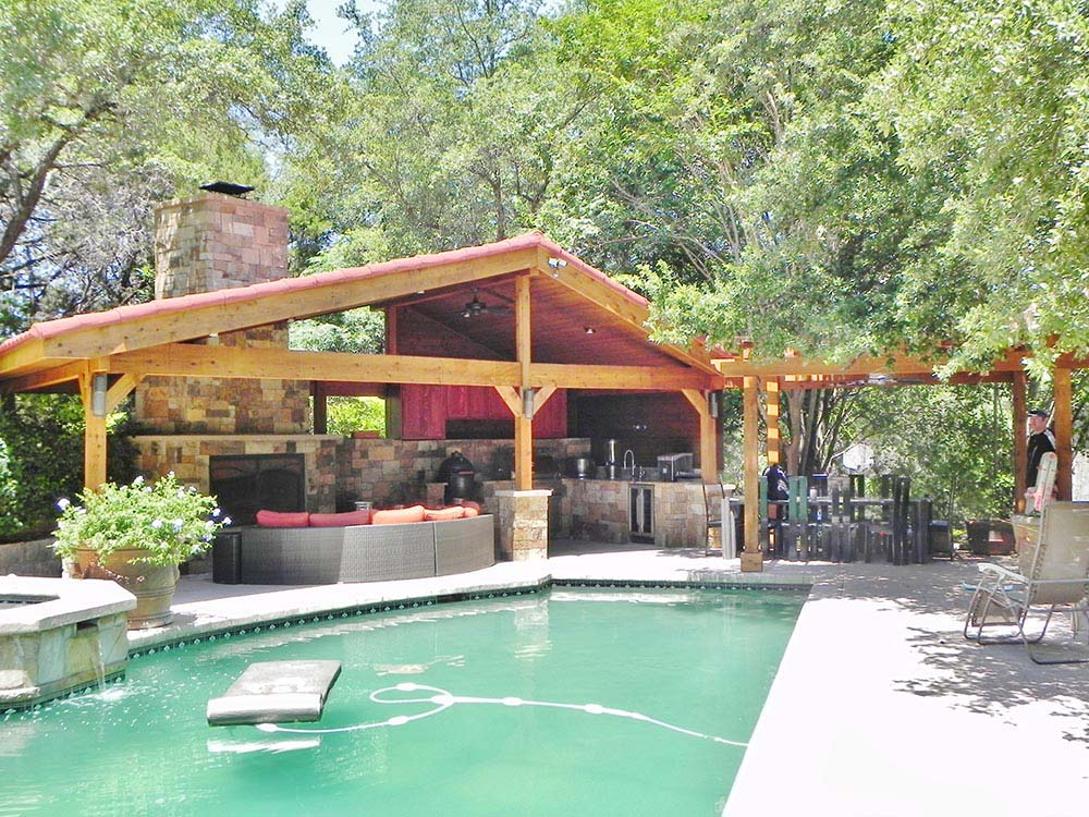 Pool deck and covered patio
