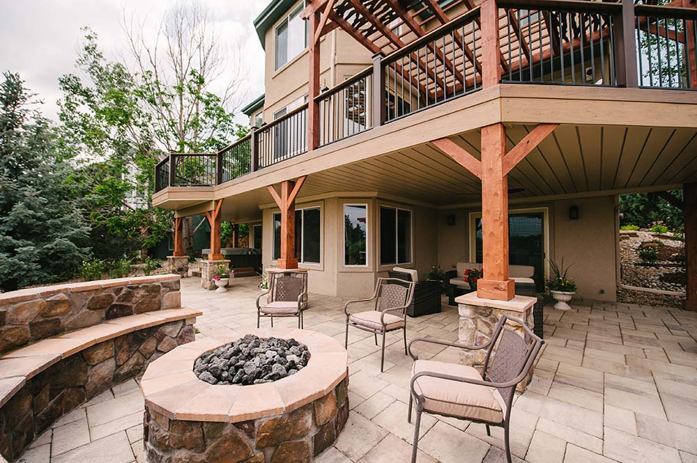 Patio, deck and firepit