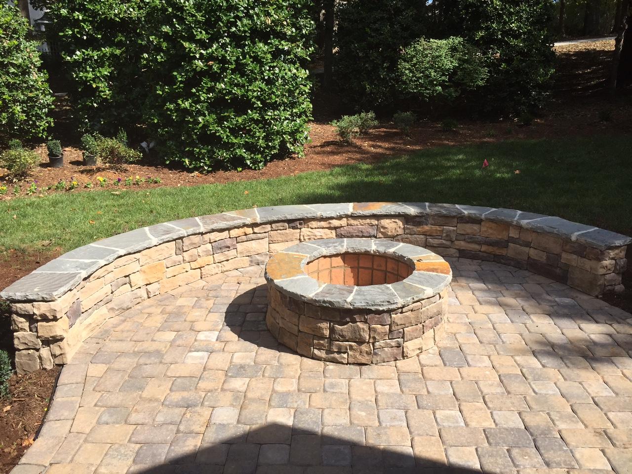 Charlotte outdoor fire pits, Charlotte outdoor fireplace ... on Pavers Patio With Fire Pit id=91750