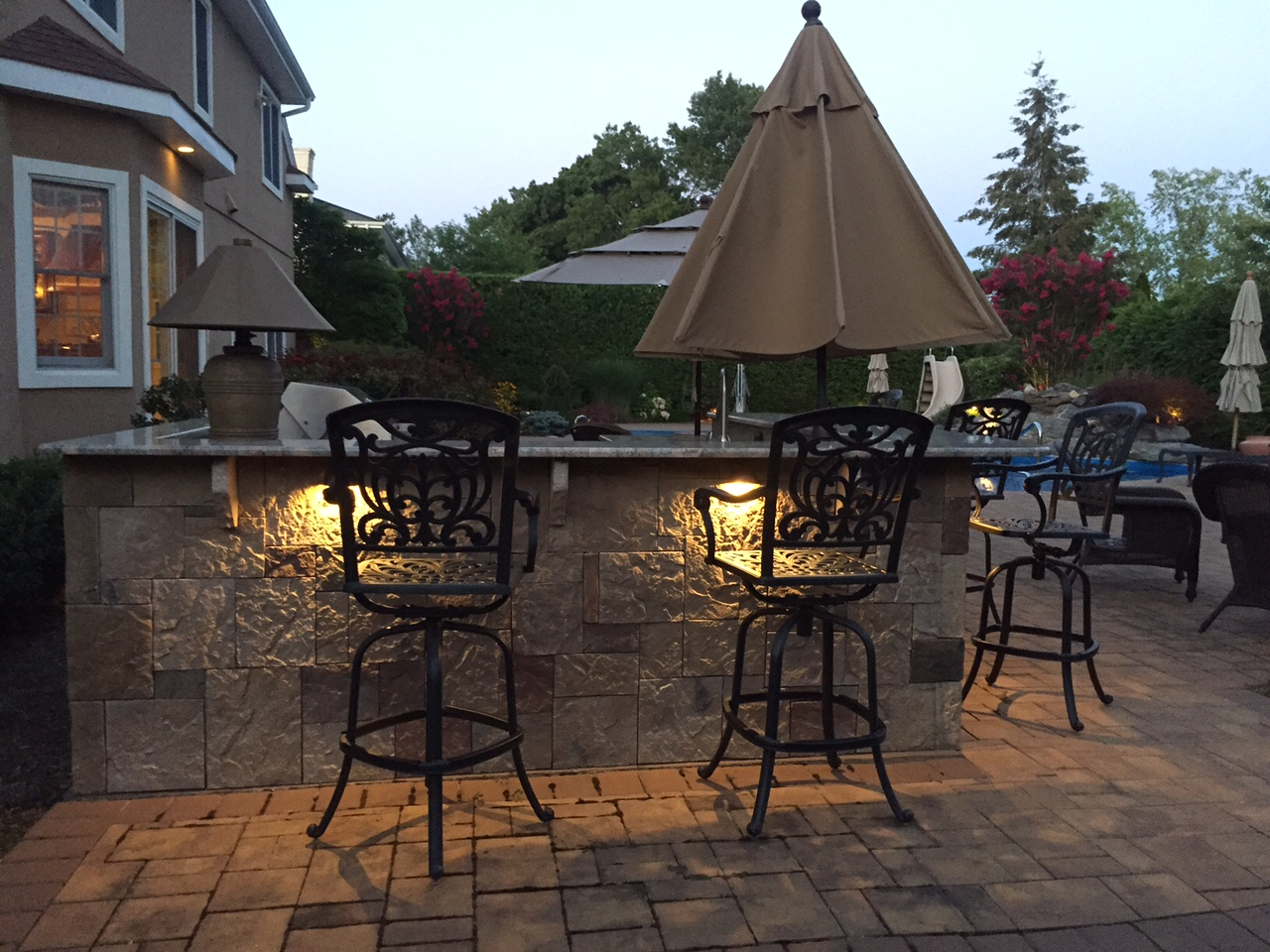 ... Along Your Seating Walls, Or Cascading Down Your Privacy Walls;  Hardscape Lighting Is A Beautiful And Discreet Way To Integrate Patio  Lighting Into Your ...