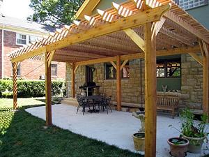 wood pergola over patio