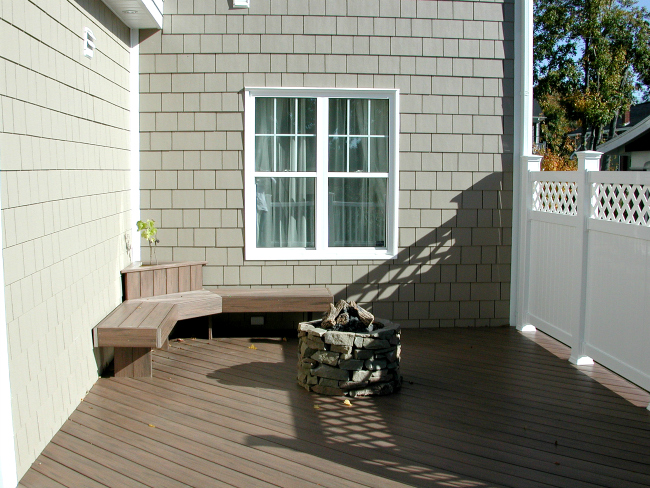 Composite Deck Halifax Nova Scotia Railing White Privacy Fire Pit Bench