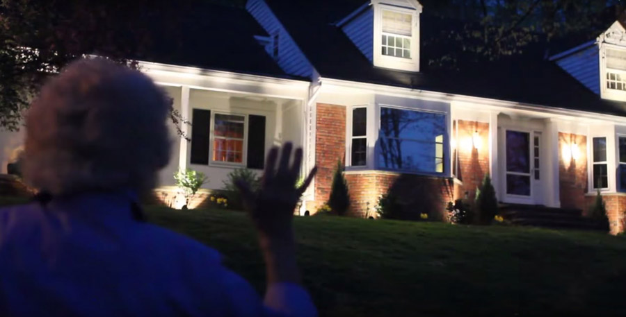 nighttime outdoor lighting demonstration
