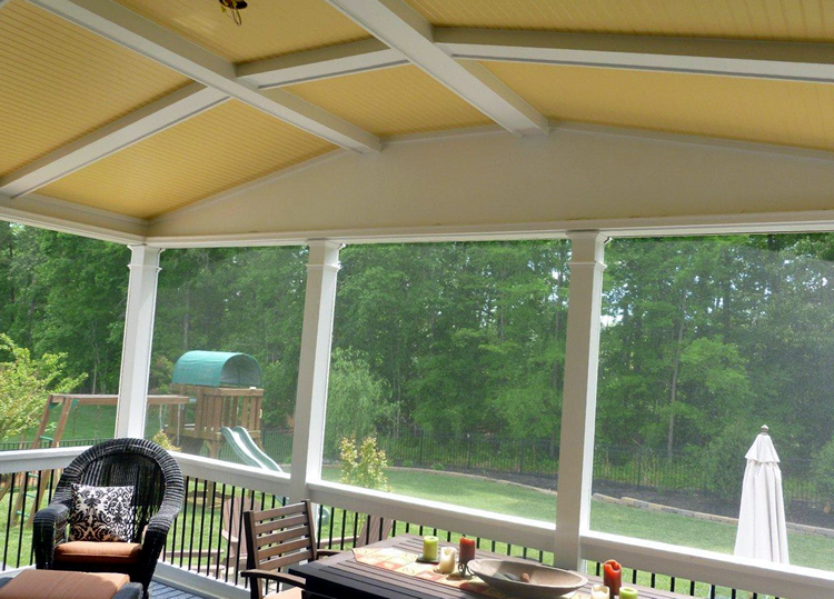 yellow beadboard porch ceiling