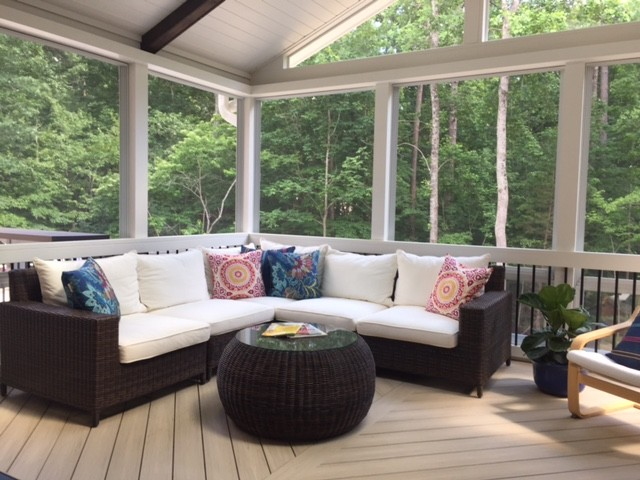 3 season porch windows porch enclosure the large threeseason porch features an open gable vaulted roof with two skylights by combining these white tongueandgroove ceiling durham deck replacement and threeseason porch addition transforms