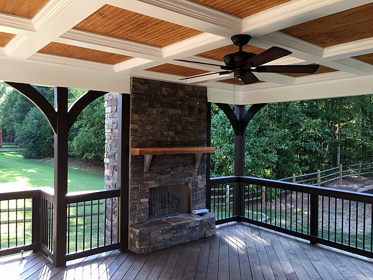 Covered deck and outdoor fireplace