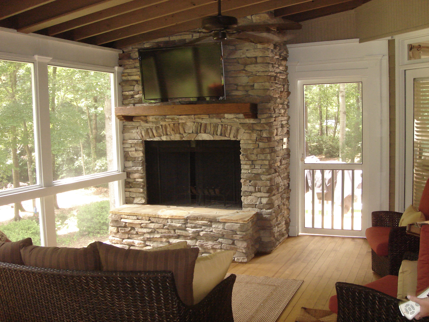 Screened in porch and fireplace