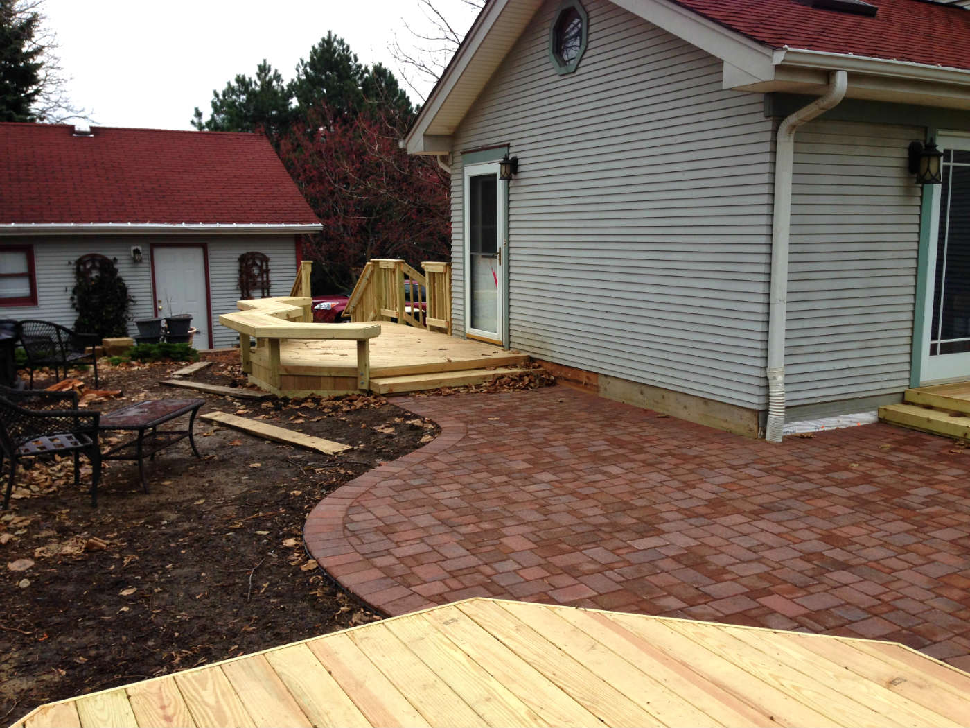 Wood Deck and Belgard Paver Patio in West Chicago, IL Thumbnail