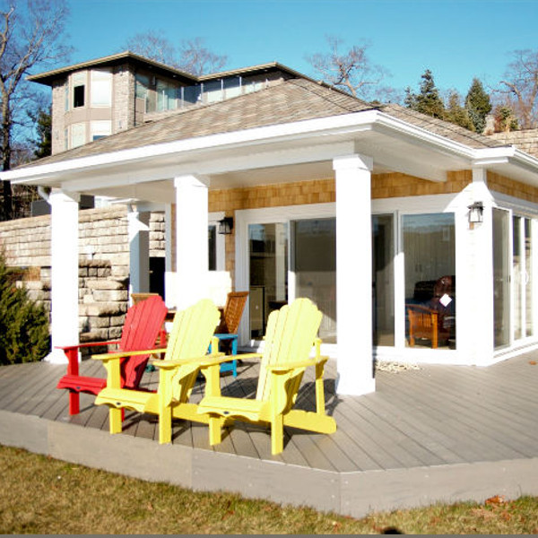 We designed the boathouse to mimic the roof pitch of the Dingle Tower keeping to the rich history of the area and the views consistent. & Amazing Waterfront Boathouse / Sunroom u0026 Composite Deck