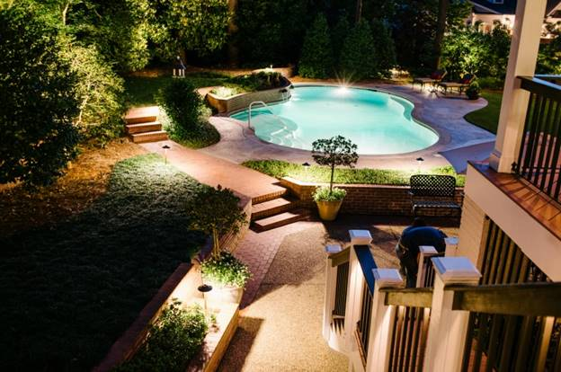 Deck and pool lighting for summer entertaining outdoor lighting often times its possible to work with existing pool area lighting to save money on materials and installation workwithnaturefo
