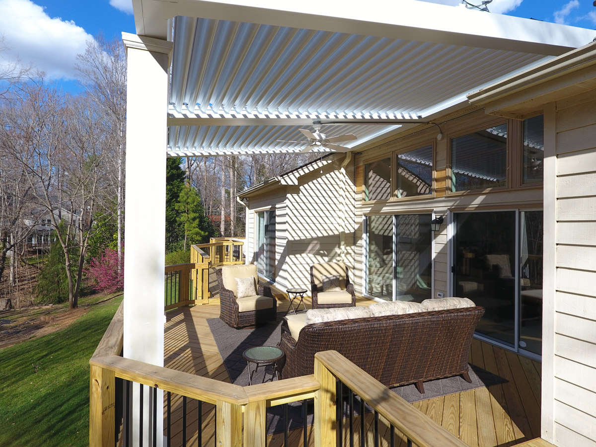 Cary Adjustable Pergola Provides Flexible Shade Option on Large Deck