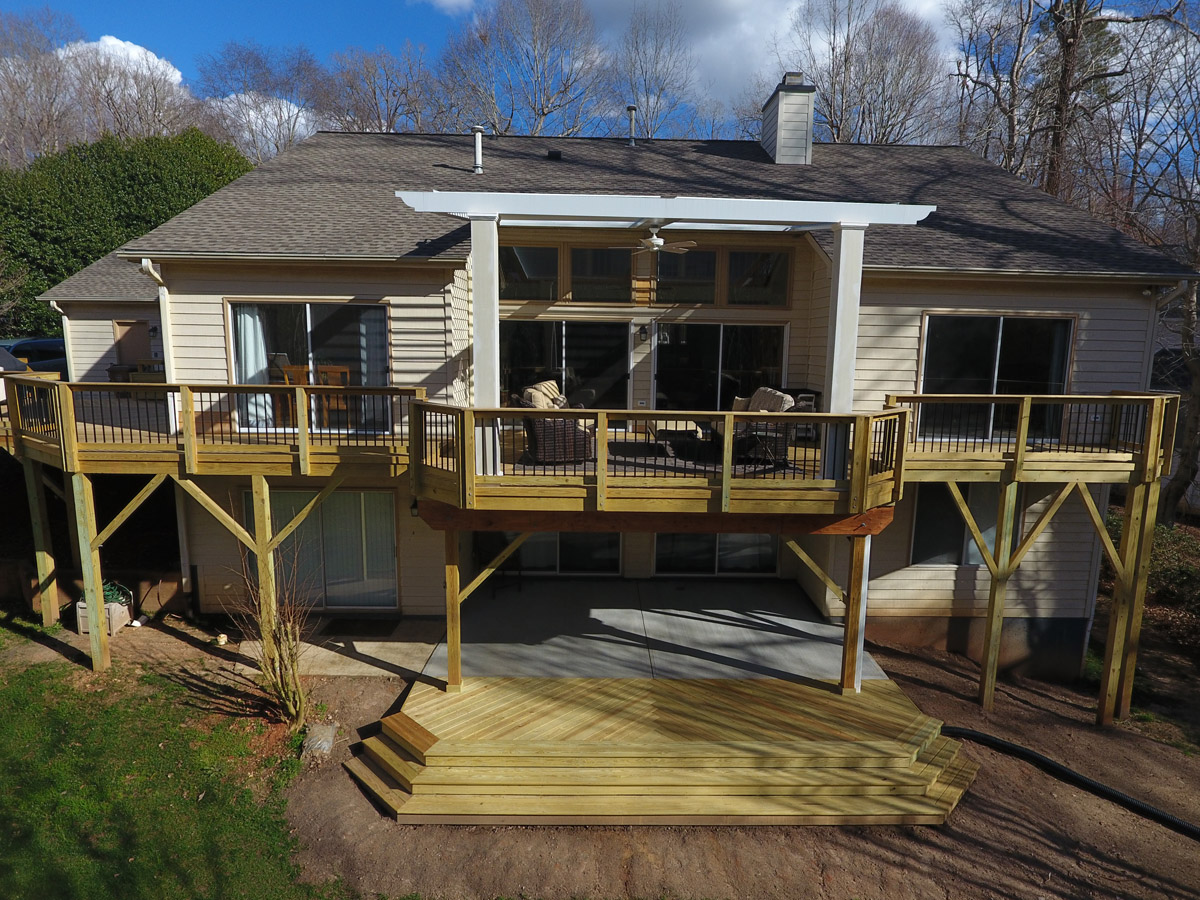 Cary Wood Deck with Covered Patio and Adjustable Pergola