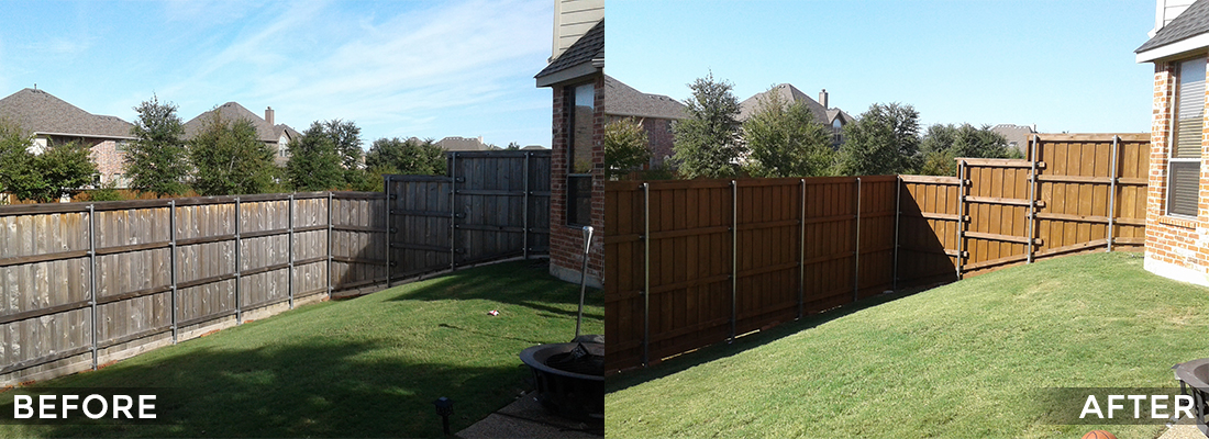 Wood Fence Cleaning and Protecting Before and After