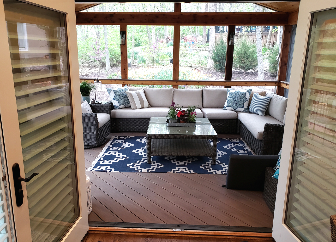 posh screened porch in Lee's Summit MO