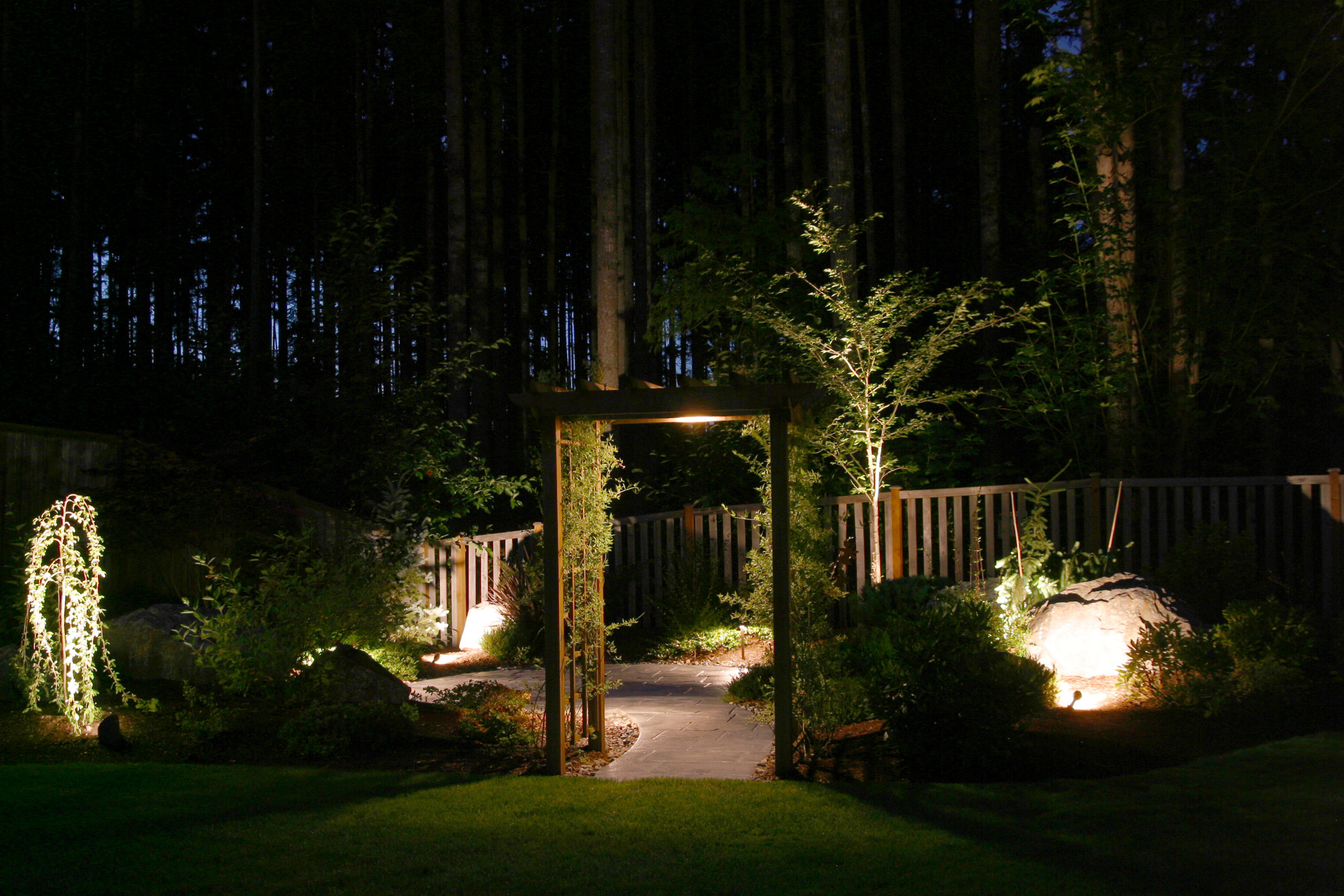 Redmond Landscape Lighting Garden Gate