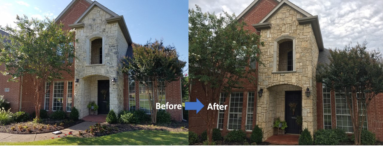 stone home exterior Cleaning and Protecting Before and After