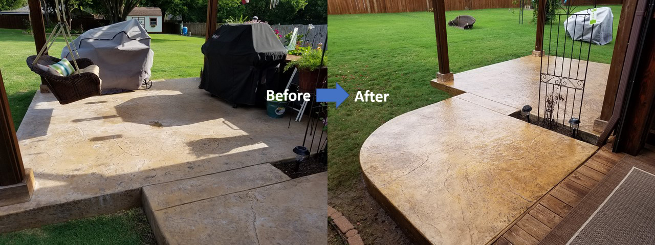 concrete patio Cleaning and Protecting Before and After