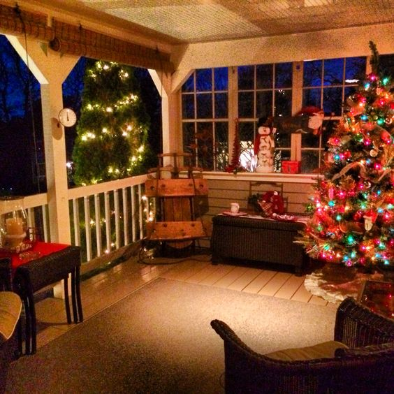 classic christmas back porch
