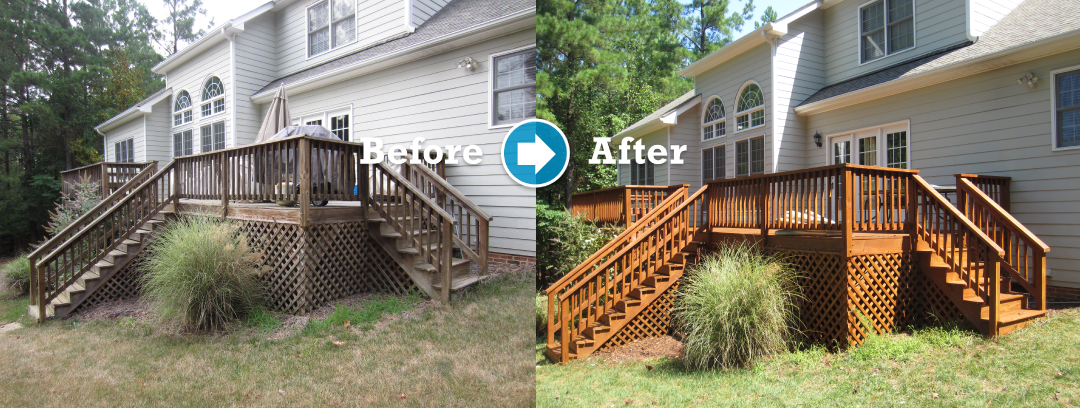 wood deck Cleaning and Protecting Before and After