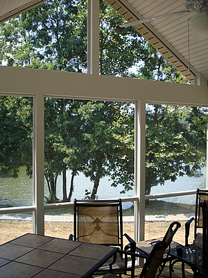screened porch and deck