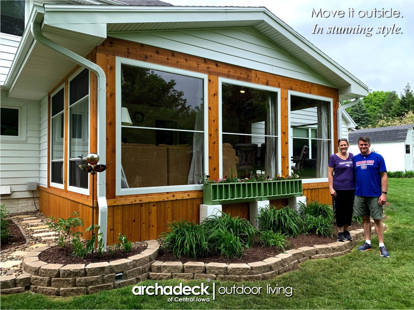 Screen Porch with Scenix Retractable Screen Windows...and Chicken Feeder...and Piano Art - Urbandale (Des Moines) Thumbnail