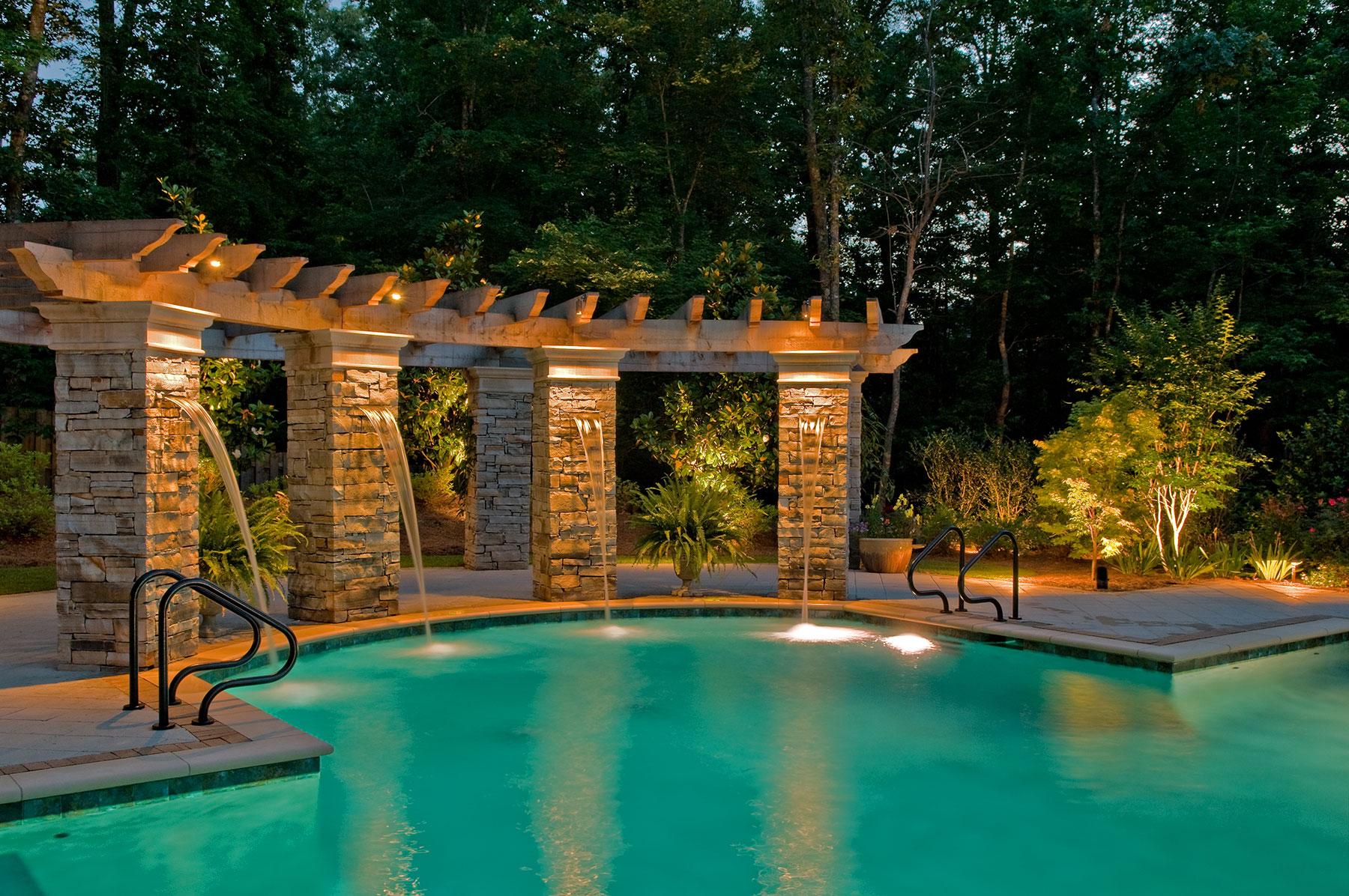 beautiful outdoor landscape pool lighting Houston Texas