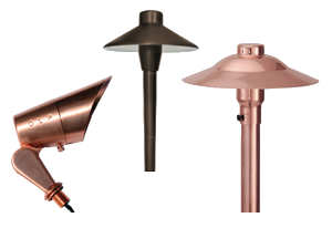 brass and copper landscape lighting