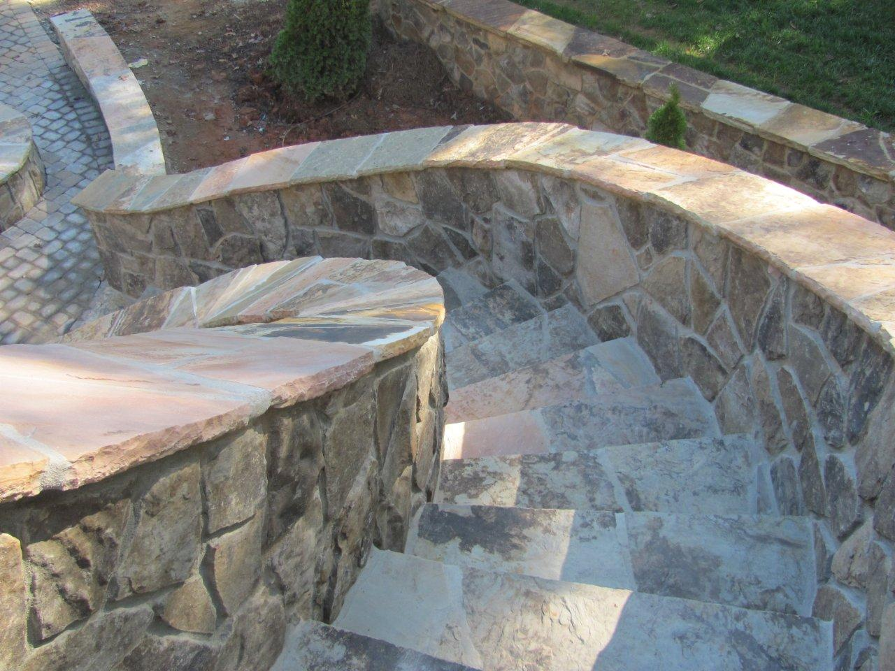 Stunning Natural Stone Staircase With Quartzite Flagstone Treads Mint Hill