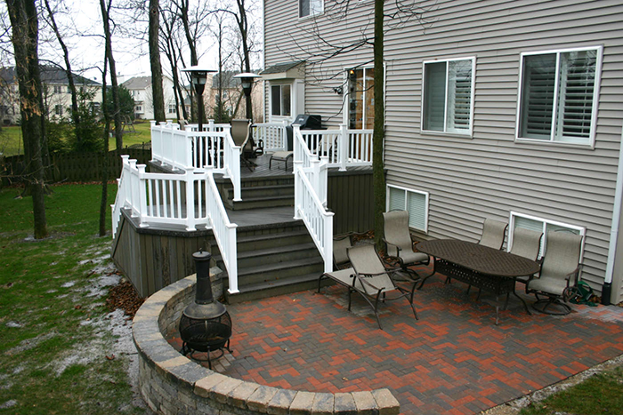 Deck stairs and patio