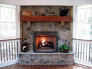 Greensboro Winston Salem screened porch fireplace