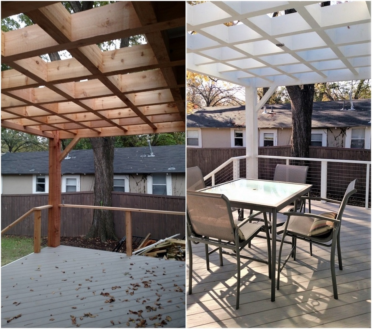 Cedar-pergola-before-and-after-solid-stain-was-applied