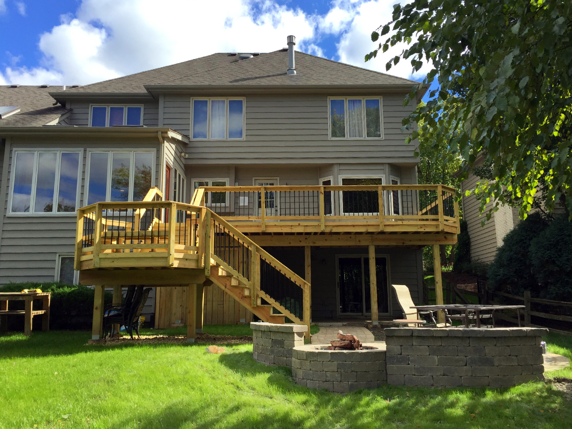 Wood deck and patio combination in Naperville