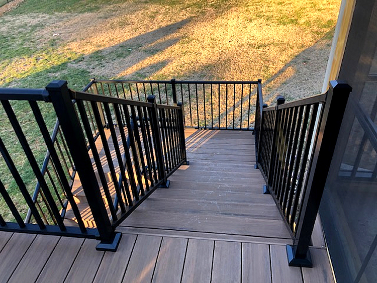 black deck railing
