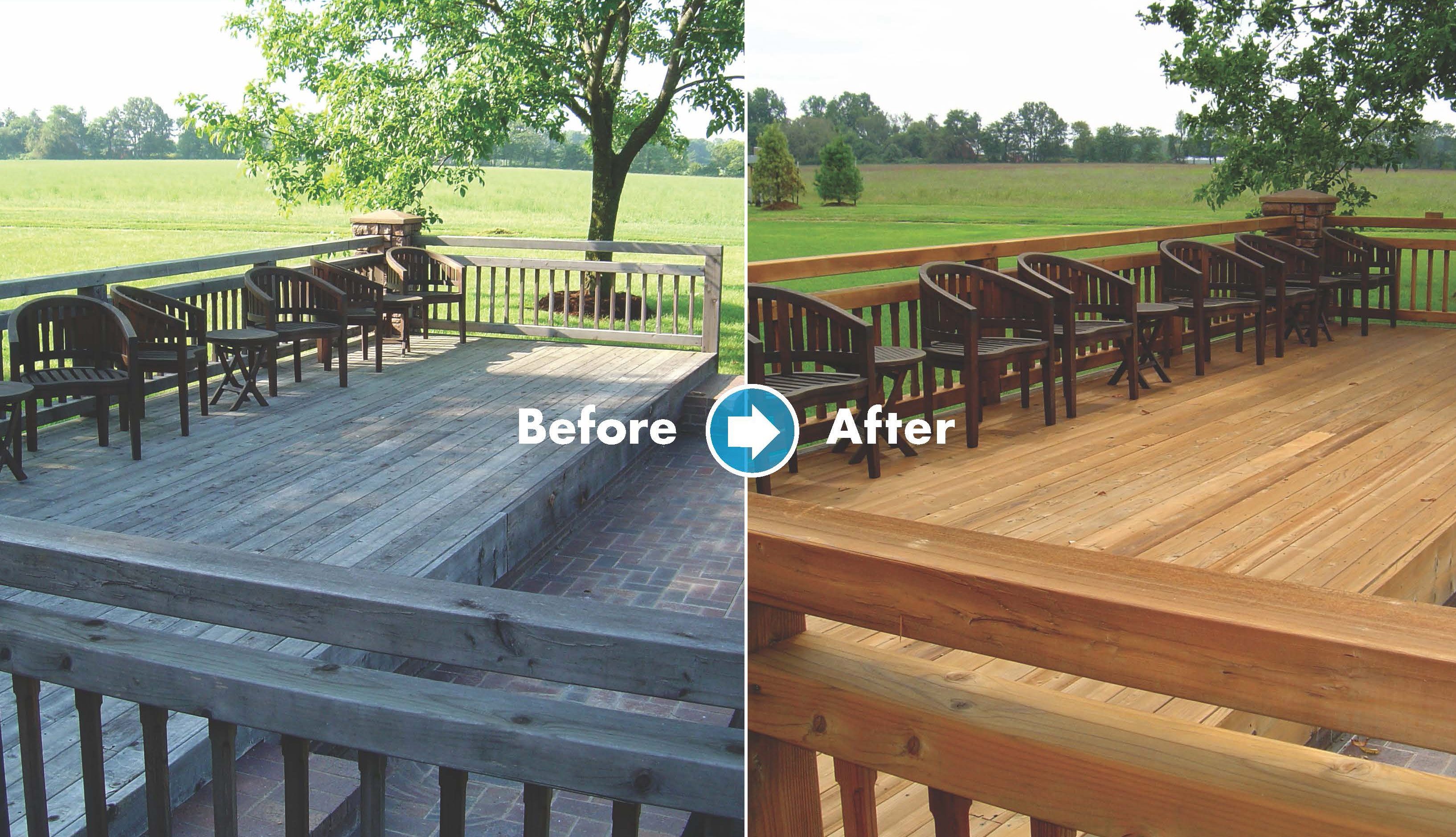 Renew Crew before and after deck cleaning and staining
