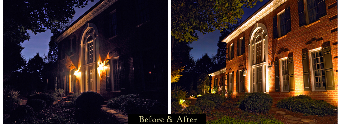 Take a look at the before and after picture below to see the difference in adding outdoor lighting to the home pictured. & Architectural Lighting in Cleveland and Northern OH